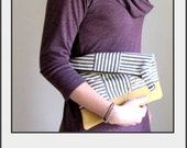 Stripe and Leather Clutch