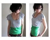 Color Block Tee Shirt - Grass Green and Grey