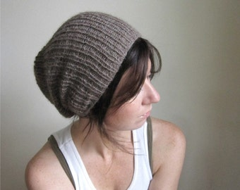 Alpaca Hand Knit Hat  // Ash Brown // Slouchy Ribbed Hat //  Snow Cap // Toque // Made to Order