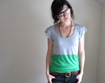 Grass Green and Grey Color Block Tee Shirt  - Blouse - Made to Order