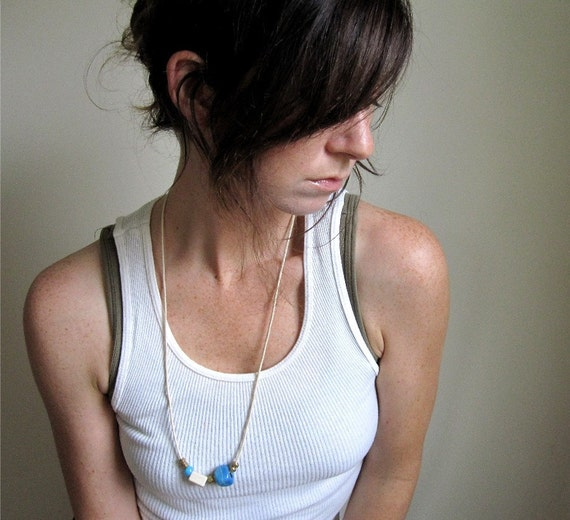 Minimal- Blue and White Necklace