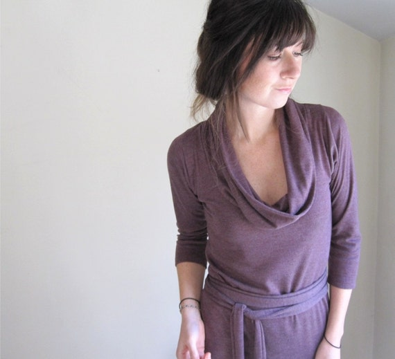 Plum Heather Womens Cowl Dress //  Long Sleeve // Made to Order in Your Size