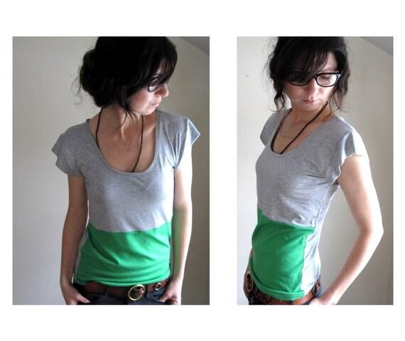 Color Block Tee Shirt, Women's Top, Blouse, Yoga, Tshirt, Tank, Grass Green and Grey, Custom Made