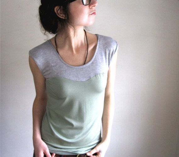 Oscillate Shirt - Seafoam and Pale Grey Blouse / Sweetheart / Tshirt / Tank