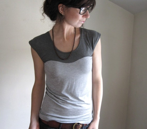RESERVED for Jillian - Oscillate Shirt - Grey on Gray  - Made to Order