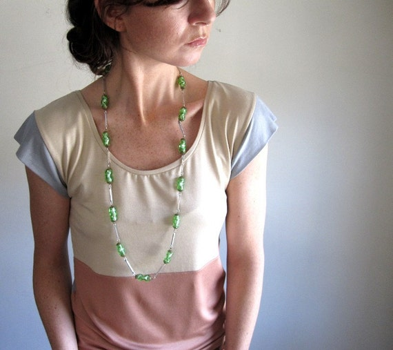 RESERVED for NAOMI / Pale Rose and Grey Color Block Blouse //  Size Small // Tank // Tee // Womens Top