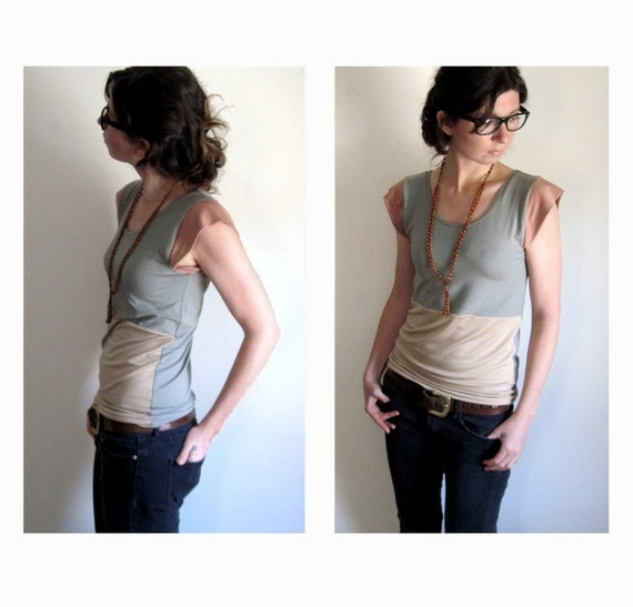 Pastel Sage and Cream Color Block Top - Custom Made to Order