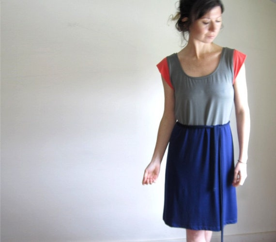 SALE - Sage and Navy Color Block Dress  // Spring Dress /  Women // Tunic //  READY to SHIP /  Medium