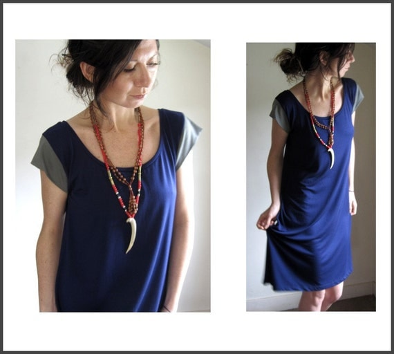 SALE - Navy Scoop Neck Dress / Spring Dress / Medium / Large / Ready to Ship