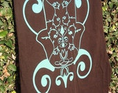 Long Cotton Exotic Hamsa Scarf in Brown with Turquoise