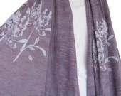 Wide Purple Burn-Out Scarf with Agapanthus