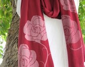 Long Red Scarf with Roses