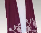 Long Eggplant Scarf with Pomegranates