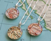 Custom Location - Sterling SIlver Map Charm Necklace