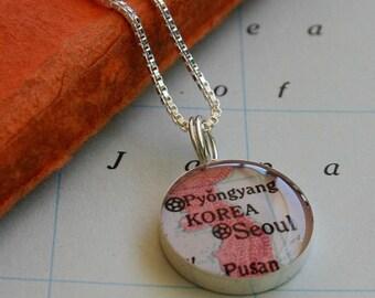 Seoul - Sterling Keepsake Map Necklace