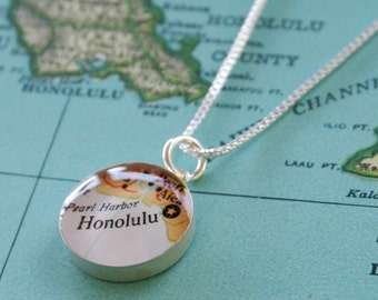 Honolulu - Sterling Map Charm Necklace