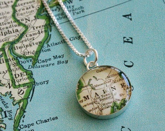 Maine - Sterling Map Charm Necklace SECONDS