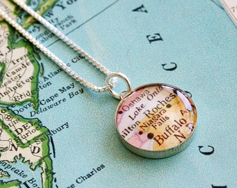 Niagra Falls - Sterling Map Charm Necklace
