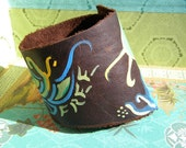 Free Spirit Butterfly Flower Plants Brown Leather Cuff eco friendly