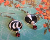 Black and White AT EXCLAMATION Keyboard Typing Bold Circular Earrings