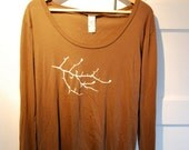 SALE XLarge Women's Shirt with Branch, Ax and Embellishments