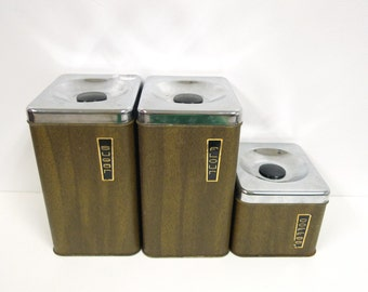 SALE!!! . vintage kitchen FAUX WOOD tin canister set