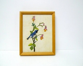 1981 vintage Black Throated BLUE WARBLERS birds . hand embroidery  framed wall hanging . decor