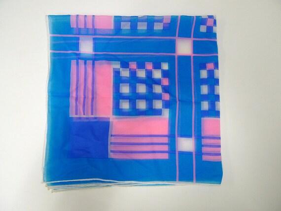 60s vintage GEOMETRO hot pink and blue nylon scarf . Japan