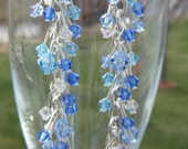 Dangle Earrings Dripping in Ice Jewelry Earrings Dangle swarovski crystals blue clear crystal classic