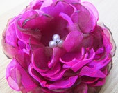 Fuchsia and Brown 4.5 inch Organza Peony Pin or hair accessory bobby pin Accessories organza flower brooch fabric flower spring weddings