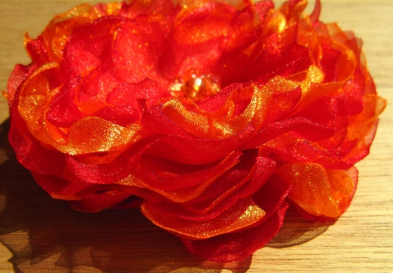 Organza Flower Peony Pin or Hair Accessory Bobby Pin Red and Orange 4.5 inch Accessories organza flower brooch fabric flower spring weddings