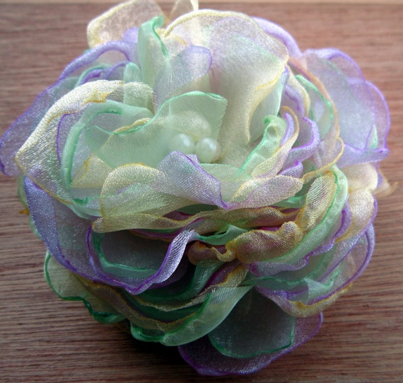Lavender Spring Green and Pale Yellow 4.5 inch Organza Peony Pin or hair accessory bobby pin You Choose