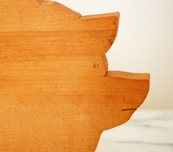 vintage pig wooden cutting board