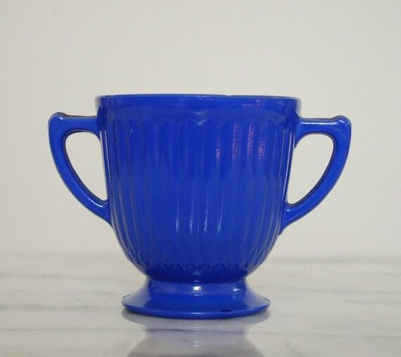 vintage blue sugar bowl cobalt glass