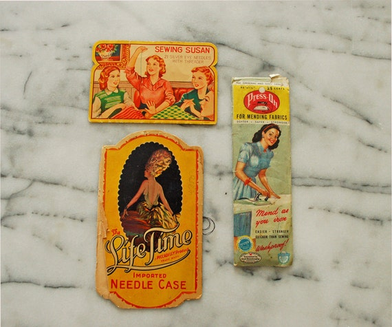 RESERVED FOR VICTORIA  vintage sewing supplies lot of three