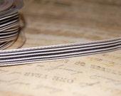 Heritage Black and Cream Striped Ribbon 3/8