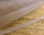 Crisp White scalloped lace with velvet ribbon trim