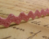 3/8 Metallic Cotton Candy Pink Glitter Vinyl Ric Rac Ribbon