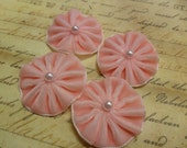 Pleated Velvet Flower Blooms with pearl centers Cotton Candy Pink