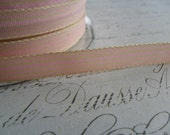 Pink and Cream  Striped Grosgrain Ribbon