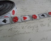 "Lady Luck White Dice and Cards 3/4"" woven Ribbon Trim"