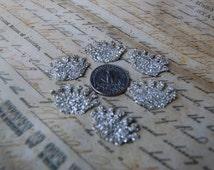 Glass Glitter Silver Crown Embellishments