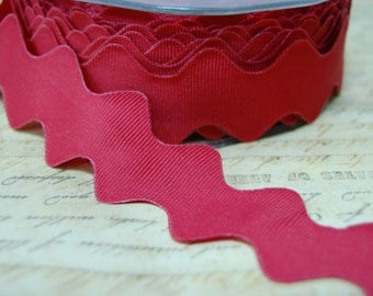 Ruby Red 1 Inch Wide Grosgrain Ribbon Ric Rac Ribbon