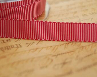 Pink Peppermint Striped 5/8 inch Grosgrain Ribbon