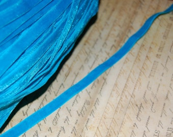 Gorgeous Turquoise Blue velvet ribbon 3/8 wide