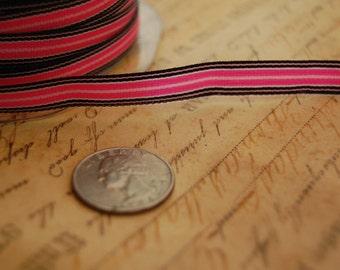 Paris Pink and Black Striped 3/8 wide Grosgrain Ribbon