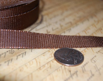 Chocolate Brown 5/8 Satin Grosgrain Ribbon