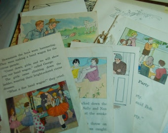 Lot of 10 Early Vintage Childrens Book Pages