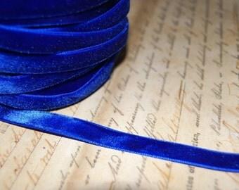 Royal Blue Velvet Ribbon 3/8 wide