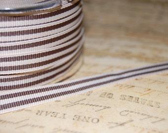 3/8 Khaki and Cream Striped Grosgrain Ribbon